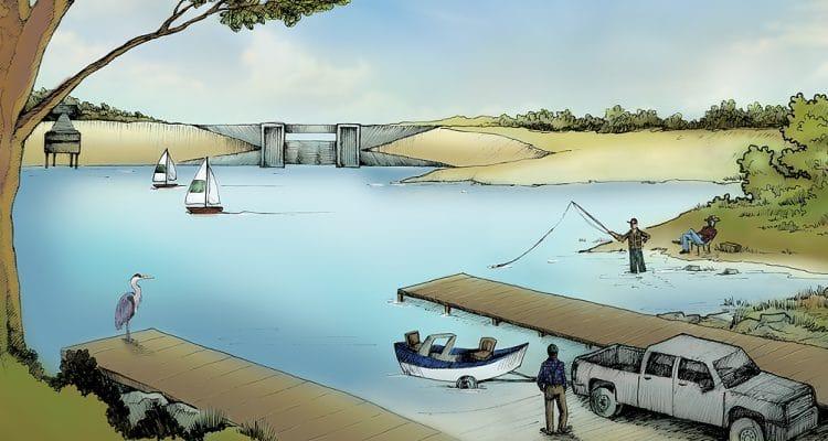 Illustration Water Fishermen Dam Trees