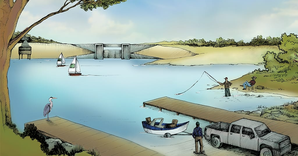 Illustration Water Fishermen Dam Trees