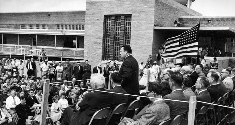 Wylie Mayor Truett Smith acts as master of ceremonies for the opening of the first NTMWD water treatment plant in 1956.